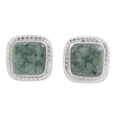 Jade stud earrings, 'Love Lassos in Green' - Jade and Sterling Silver Rope Motif Earrings from Guatemala