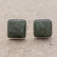 Jade stud earrings, 'Mayan Hope' - Jade and Sterling Silver Square Earrings from Guatemala