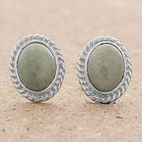 Jade stud earrings, 'Oval Lassos'