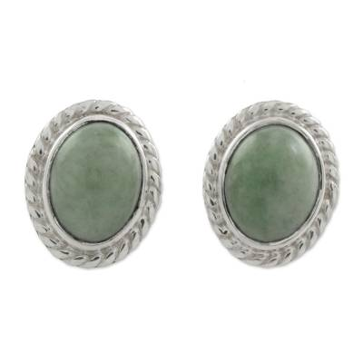 Jade stud earrings, 'Oval Lassos' - Light Green Jade Oval Stud Earrings from Guatemala