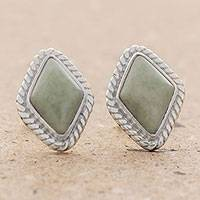 Jade stud earrings, 'Diamond Lassos' - Light Green Jade Rhombus Stud Earrings from Guatemala