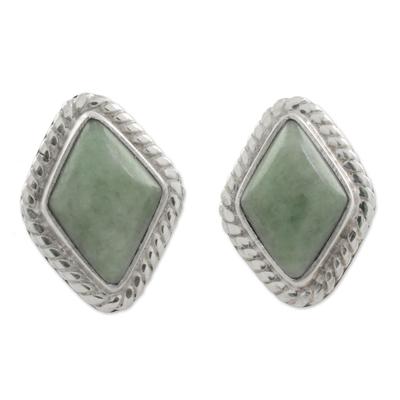 Light Green Jade Rhombus Stud Earrings from Guatemala