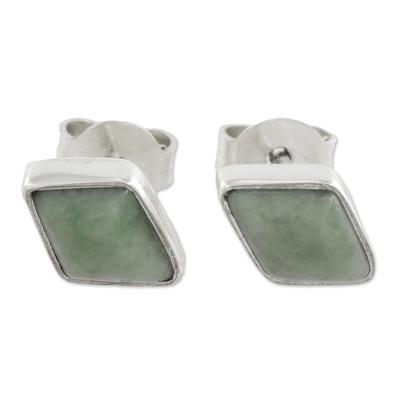 Jade stud earrings, 'Mayan Elegance in Light Green' - 925 Silver Light Green Jade Rhombus Earrings from Guatemala