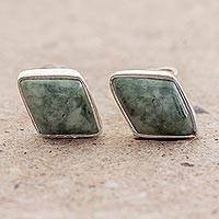 Jade stud earrings, 'Mayan Elegance in Green' - Green Jade and 925 Silver Rhombus Earrings from Guatemala