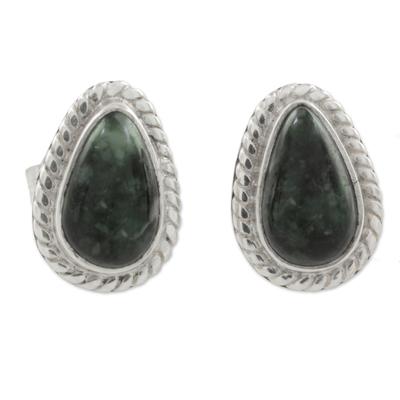 Green Jade and 925 Silver Teardrop Earrings from Guatemala