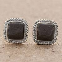 Jade stud earrings, 'Love Lassos in Black' - Black Jade Rope Motif Stud Earrings from Guatemala