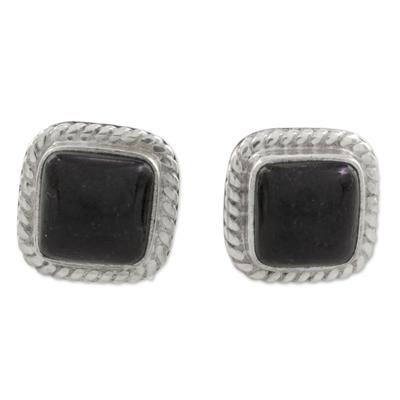 Black Jade Rope Motif Stud Earrings from Guatemala