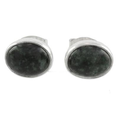 Jade stud earrings, 'Mayan Ovals' - Green Jade and 925 Silver Oval Stud Earrings from Guatmela