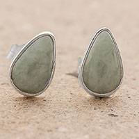 Jade stud earrings, 'Mayan Teardrops in Light Green'