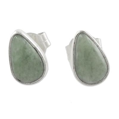 Light Green Jade Teardrop Stud Earrings from Guatemala