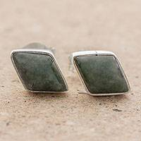 Jade stud earrings, 'Mayan Elegance in Dark Green' - Green Jade and 925 Silver Rhombus Earrings from Guatemala