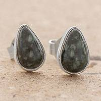 Jade stud earrings, 'Mayan Teardrops in Dark Green' - Green Jade and 925 Silver Teardrop Earrings from Guatemala