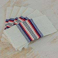 Cotton napkins, 'Dinner Guest' (set of 6) - Striped 100% Cotton Napkins from Guatemala (Set of 6)