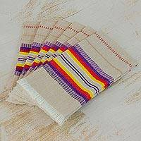 Cotton napkins, 'Sunset Dinner' (set of 6) - Striped 100% Cotton Napkins from Guatemala (Set of 6)