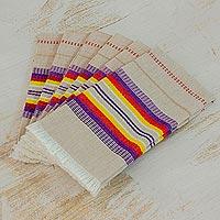 Cotton napkins, 'Sunset Dinner' (set of 6) - Striped 100% Cotton Napkins from Guatemala (Set of 6)