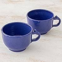 Ceramic cups, 'Love in Each Sip' (pair) - Pair of Blue Ceramic Handled Cups from El Salvador