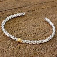 Gold accent sterling silver cuff bracelet, 'Rope Twist' - Gold Accent Sterling Silver Cuff Bracelet from Nicaragua
