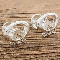 Sterling silver cufflinks, 'Ultimate Ajmaq' - Sterling Silver Men's Mayan Cufflinks from Nicaragua