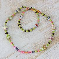 Pinewood and recycled paper beaded necklace, 'Lime Flavors' - Pinewood and Recycled Paper Beaded Necklace from Guatemala