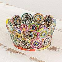 Recycled paper basket, 'Color Revolution' - Handcrafted Recycled Paper Circular Basket from Guatemala