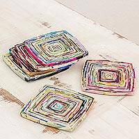 Recycled paper coasters, 'Colors of Relaxation' - Six Handcrafted Recycled Paper Coasters from Guatemala