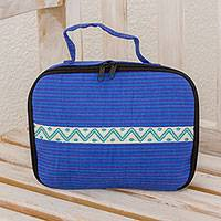 Cotton jewelry case, 'Sweet Combination' - Cotton Jewelry Case in Iris and Royal Blue from Guatemala