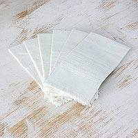 Cotton napkins, 'Parallel Purity' (set of 6) - Six Handwoven Cotton Napkins in Eggshell from Guatemala