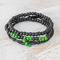 Men's wood beaded bracelets, 'Light in the Dark' (Set of 3) - Men's Black and Lime Green Wood Beaded Bracelets