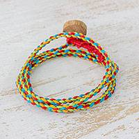 Cotton wrap bracelet, 'Tropical Brights' - Guatemalan Cotton Wrap Bracelet with Multicolor Threads
