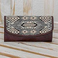 Cotton and leather checkbook wallet, 'Tricolor Kaleidoscope' - Cotton and Leather Tricolor Checkbook from Guatemala