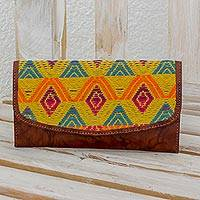 Leather and cotton checkbook wallet, 'Textile Splendor' - Multicolored Cotton and Leather Checkbook Wallet