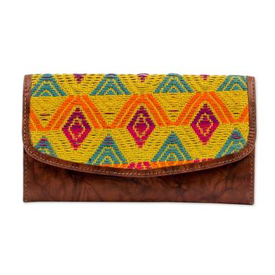 Novica Leather and cotton tote handbag, Textile Splendor