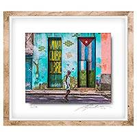 Photo collage, 'Beautiful Mulata' - Framed 3D Photo Collage of Cuban Woman