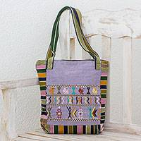 Cotton shoulder bag, 'Prosperous Land' - Handwoven Cotton Shoulder Bag in Carnation from Guatemala