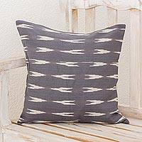 Cotton cushion cover, 'Arrow Beauty in Slate' - Cotton Cushion Cover in Slate and Ivory from Guatemala