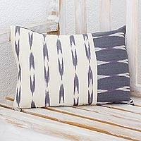 Cotton cushion cover, 'Slate Elegance' - Rectangular Cotton Cushion Cover in Slate and Ivory