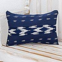 Cotton cushion cover, 'Marine Elegance' - Rectangular Cotton Cushion Cover in Navy from Guatemala