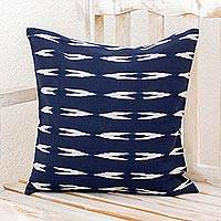 Cotton cushion cover, 'Jaspe Beauty in Navy' - Ivory and Navy Cotton Cushion Cover from Guatemala