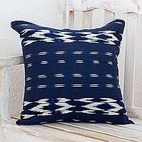 Cotton cushion cover, 'Ocean Elegance' - Cotton Cushion Cover in Ivory and Navy from Guatemala