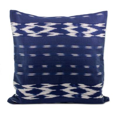 Cotton Cushion Cover in Ivory and Navy from Guatemala