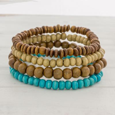 set of four blue and brown bangle Bracelets