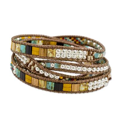 Glass beaded wrap bracelet, 'Distant Lights' - Handcrafted Glass Beaded Wrap Bracelet from Guatemala