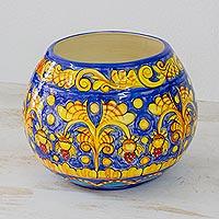 Ceramic vase, 'Sunbathed Flowers'
