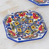 Ceramic salad plates, 'Florid Star' (set of 4) - Four Hand-Painted Ceramic Floral Plates from El Salvador