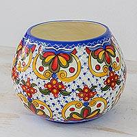 Ceramic vase, 'Florid Sheen' - Hand-Painted Ceramic Floral Vase from El Salvador