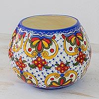 Ceramic vase, 'Florid Sheen'
