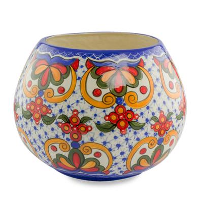 Ceramic vase, 'Florid Sheen' - Hand-Painted Ceramic Floral Vase from El Salvador