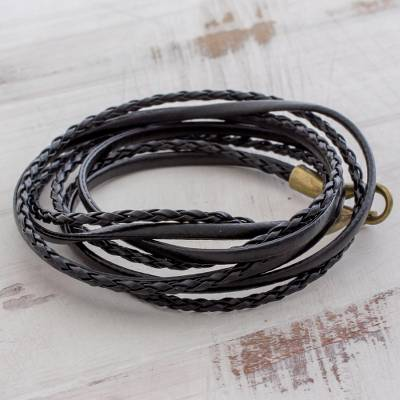 Leather wrap bracelet, 'Elegance and Style in Black' - Braided Leather Wrap Bracelet in Black from Guatemala