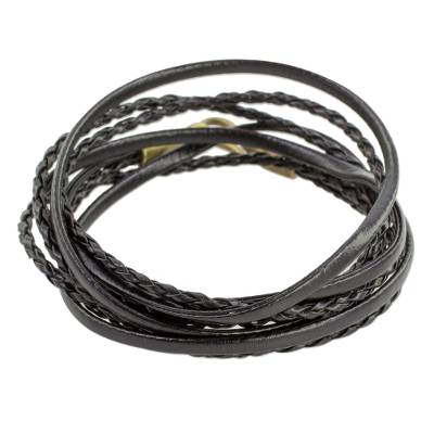 Braided Leather Wrap Bracelet in Black from Guatemala