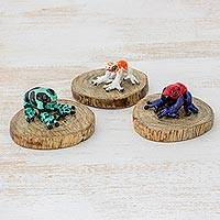 Ceramic and wood figurines, 'Jungle Frogs' - Three Multicolored Ceramic and Wood Frog Figurines